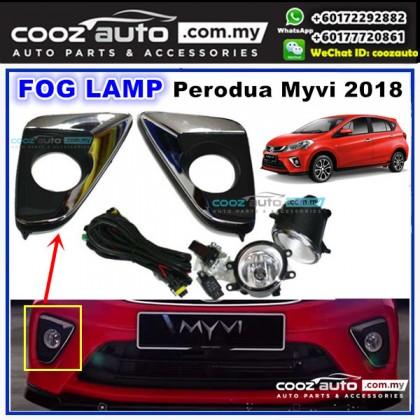 Perodua Myvi 2018 Fog Lamp + Fog Lamp Cover (Chrome) Spot Light Kit