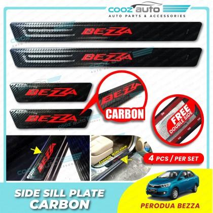 Perodua Bezza Door Side Sill Step Plates Carbon Fiber With Red Logo Emblem Word Car