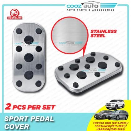 Toyota CHR 2016 - 2021 Fortuner 2015 - 2021 Harrier 2005 - 2013 Auto Sport Pedal Kit Cover Non Slip Stainless Steel