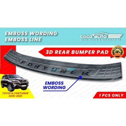 Toyota Fortuner 2016 - 2021 Hc Cargo F1 Rear Bumper Pad EMBOSS Wording EMBOSS Line Guard Protector